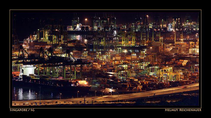 Singapore Night Impressions IX, Container Terminal, Singapore / SG