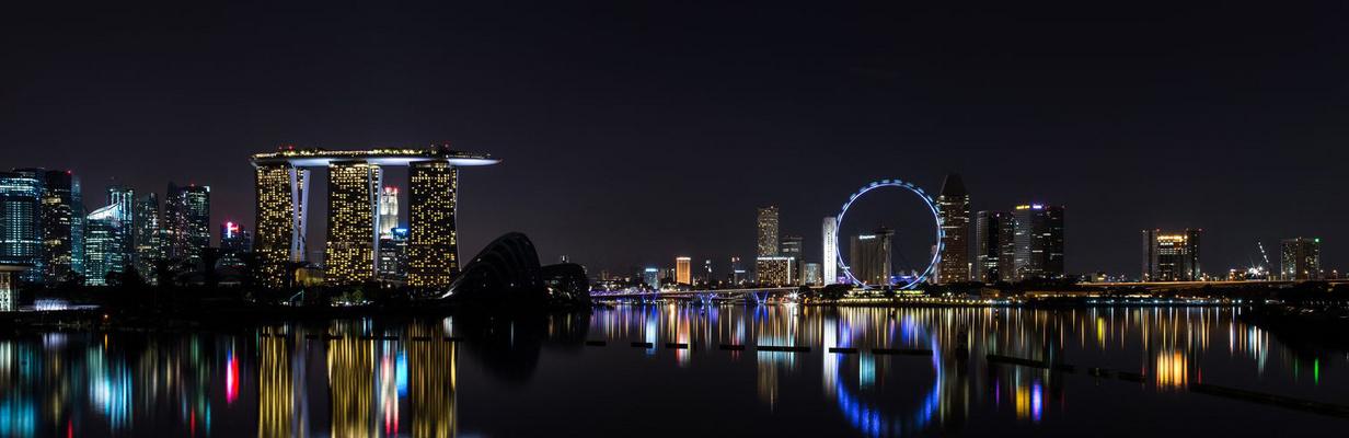 Singapur Skyline bei Nacht von Marina Barrage