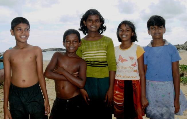 Singhalesische Fischer-Kids