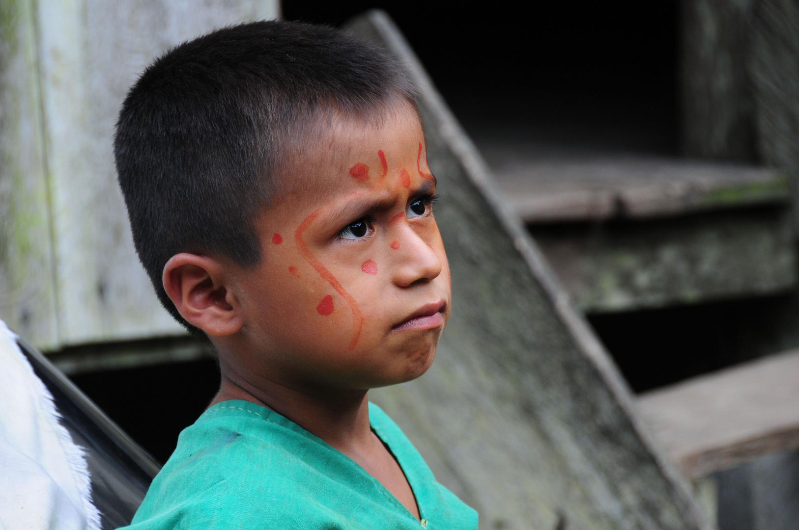 Skeptical Boy - Cofan Tribe, Cuyabeno, Ecuador