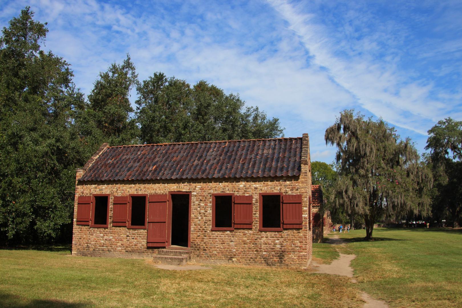 Sklavenhäuser auf der Booen Hall Plantage