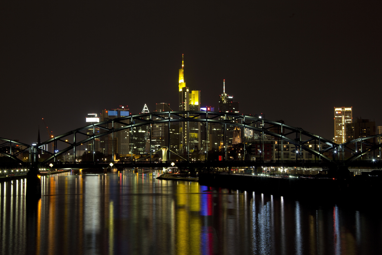 Skyline Frankfurt colored by night