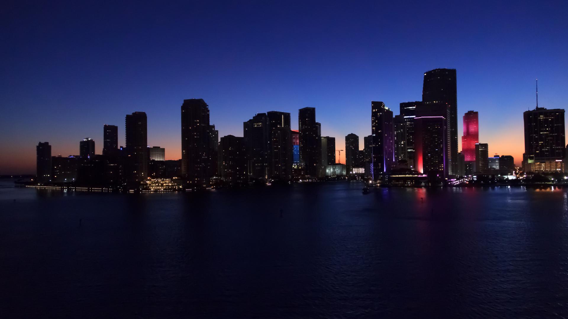 Skyline Miami im letzten Licht