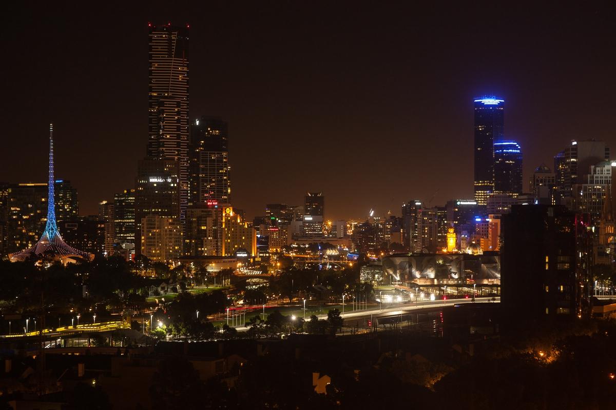 Skyline of Melbourne / Spire of Arts Center