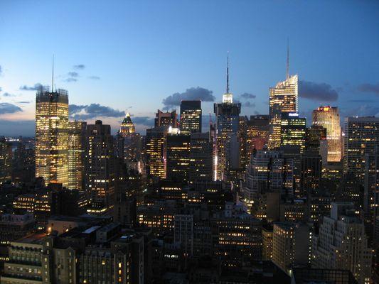 Skyline of New York City by night
