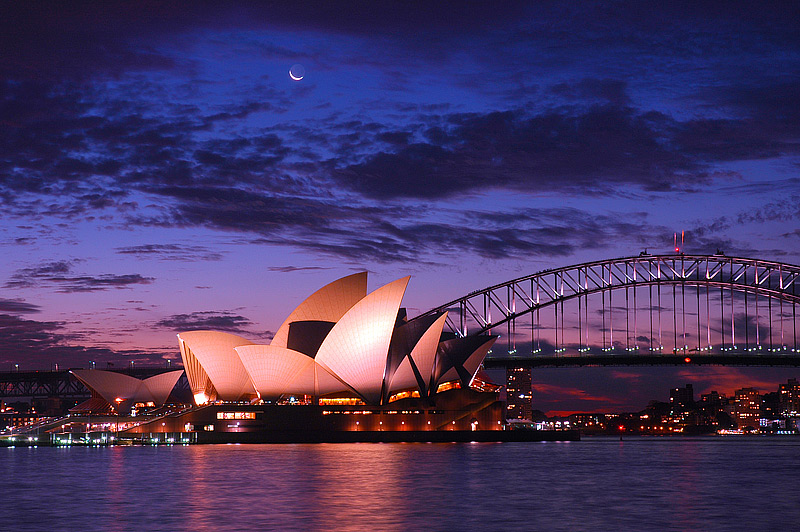 Skyline von Sydney bei Sonnenuntergang