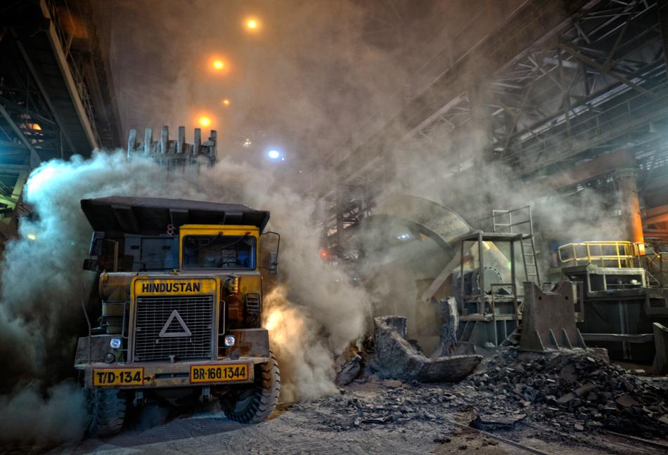 slag loading on a dump truck