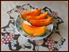 Sliced yellow melon.