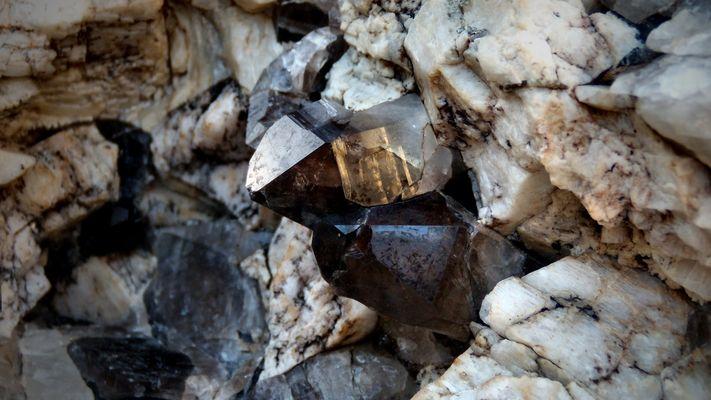Smokey Quartz crystals in Granite