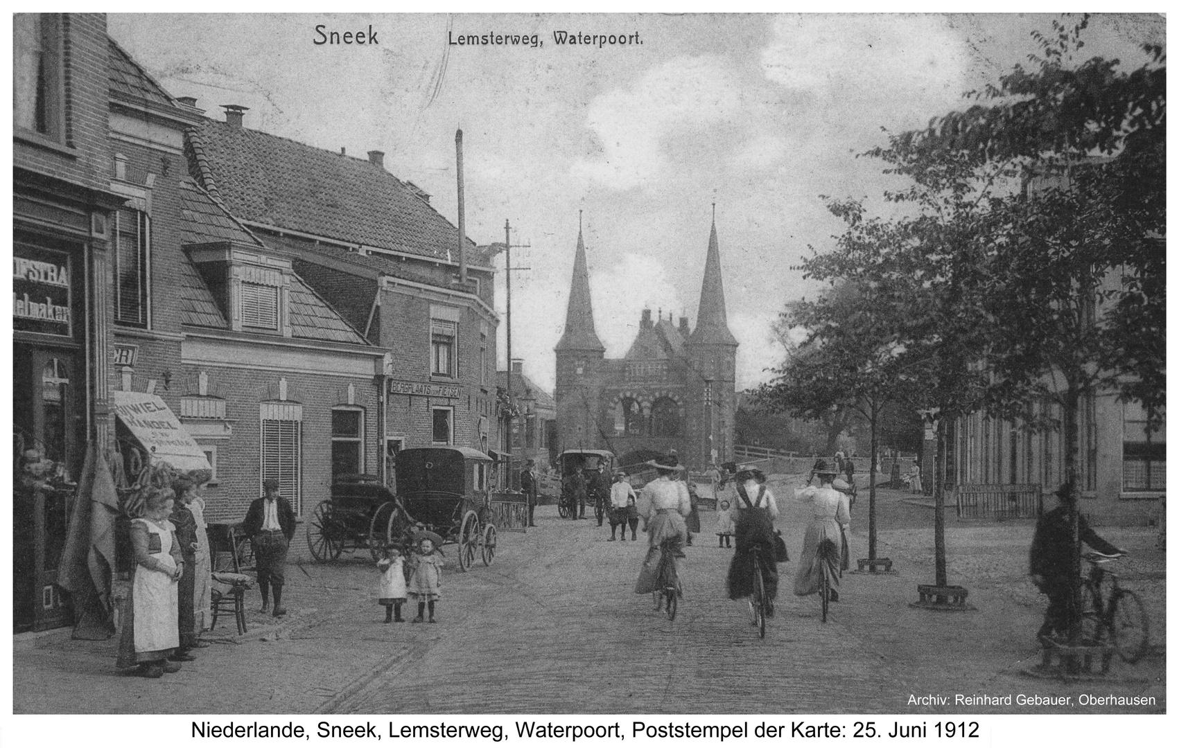 Sneek, Niederlande, Lemsterweg, Waterpoort, um 1912