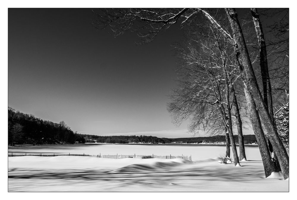 Snow covered Swartswood Lake