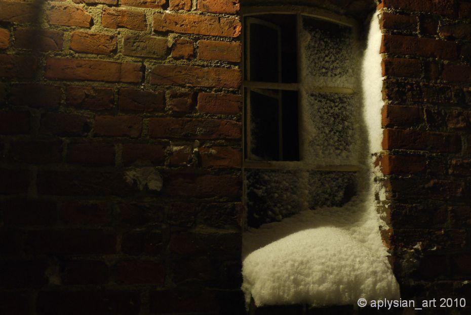 snow on window