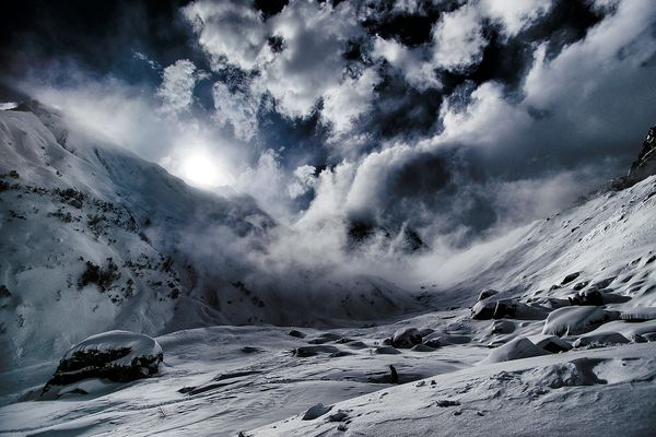 Snow Storm in the Himalayas