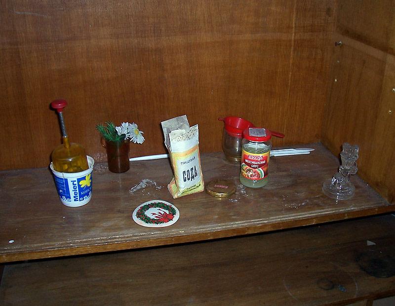 Soda-Salz und Kunstblumen