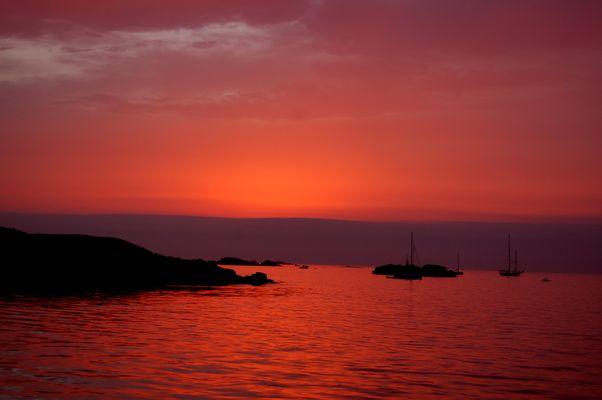 soir d'orage au mouillage de la Pie (iles des Glénan)