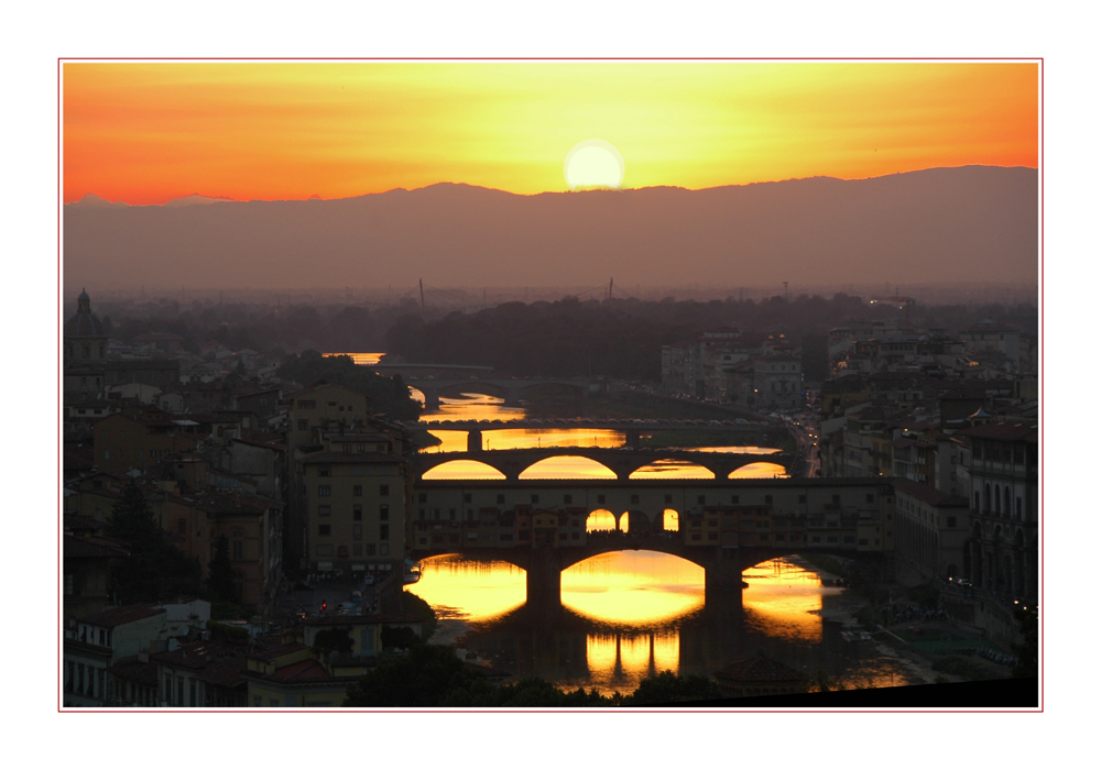 Soleil couchant sur l'Arno Florence