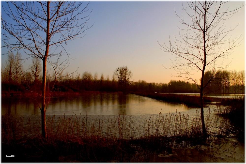 Soleil couchant sur les prés inondés