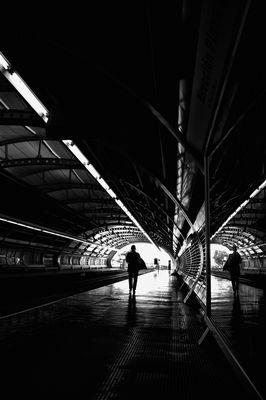 Solitaria esperando el tren.