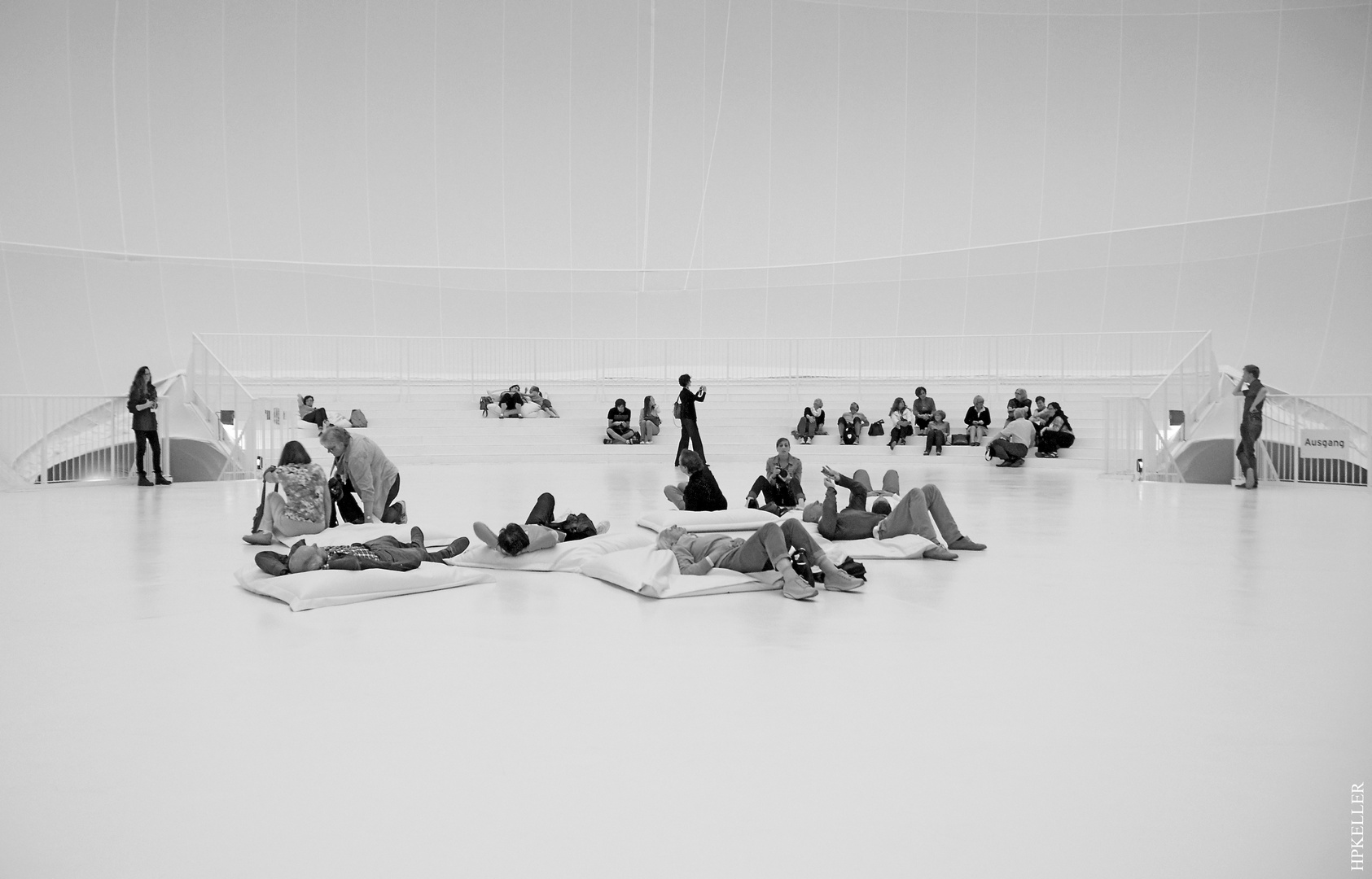 """Some month ago inside Christo's """"Big Air Package"""", ...concentration or relaxation?"""