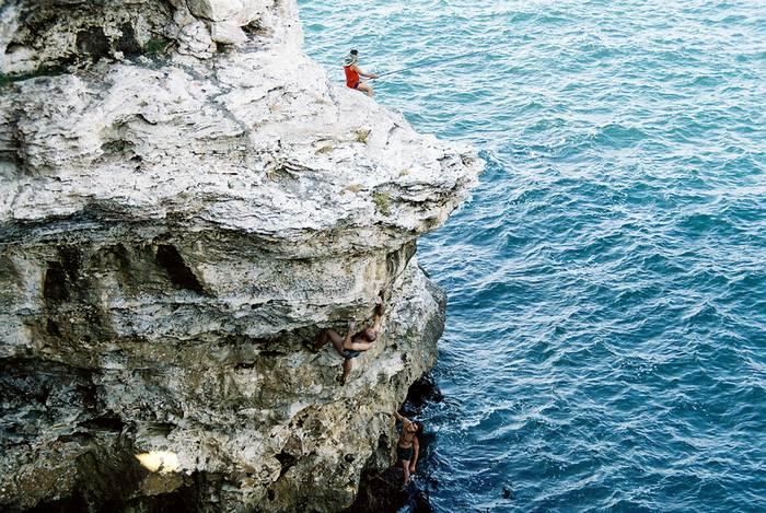 somebody climbing...somebody fishing