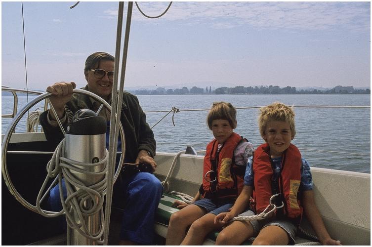 Sommer 1982 auf dem Bodensee mit unseren Kindern Nikola und Falko