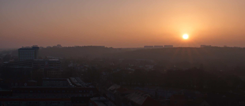 Sonne auf die Stadt ...