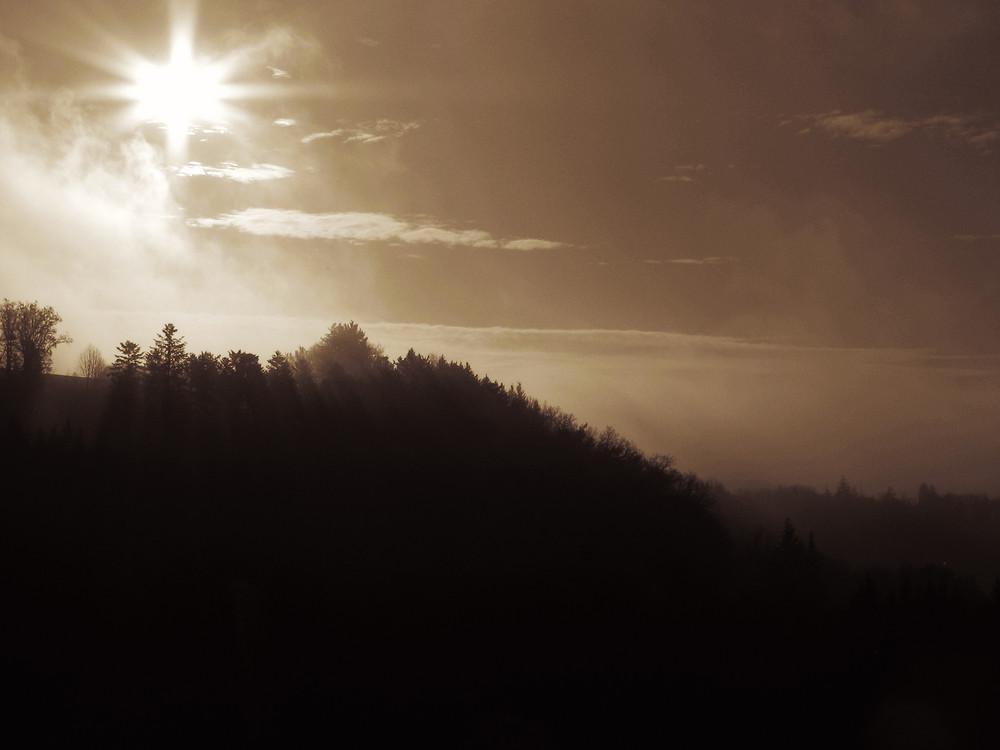 Sonne bricht den Nebel am Morgen