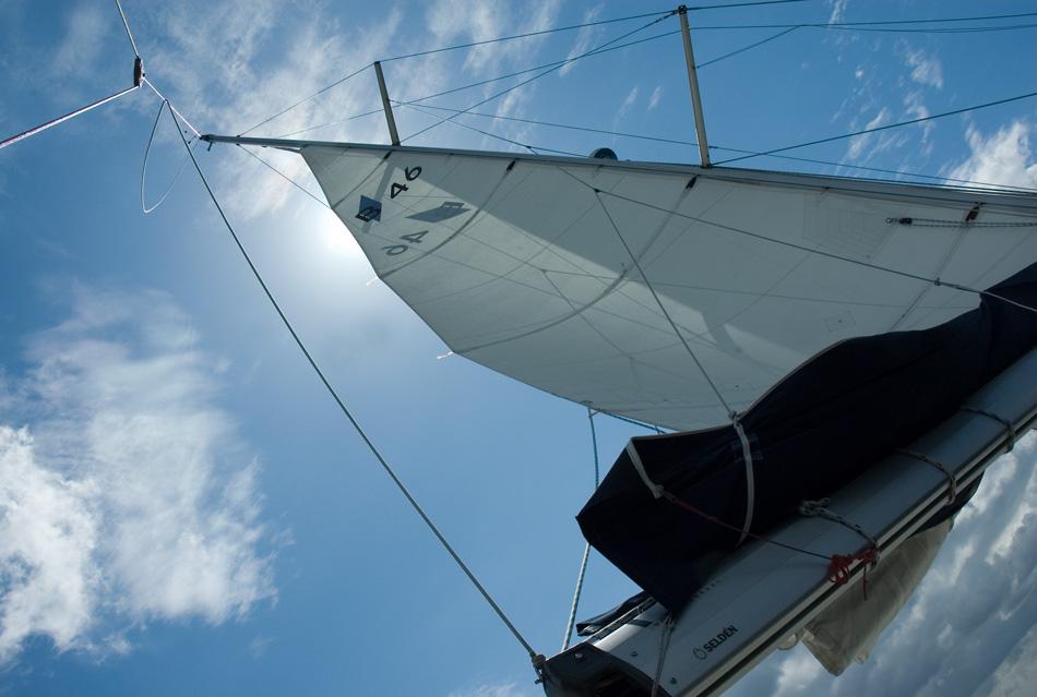 Sonne hinter Segel