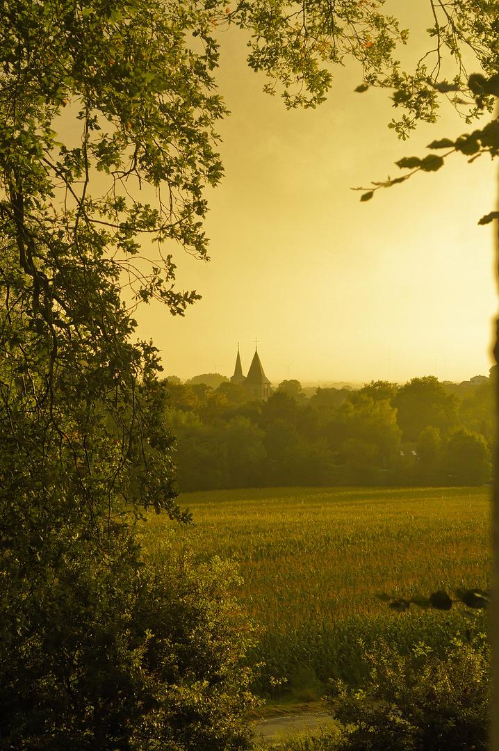 Sonnen untergang im Brochterbecker Land