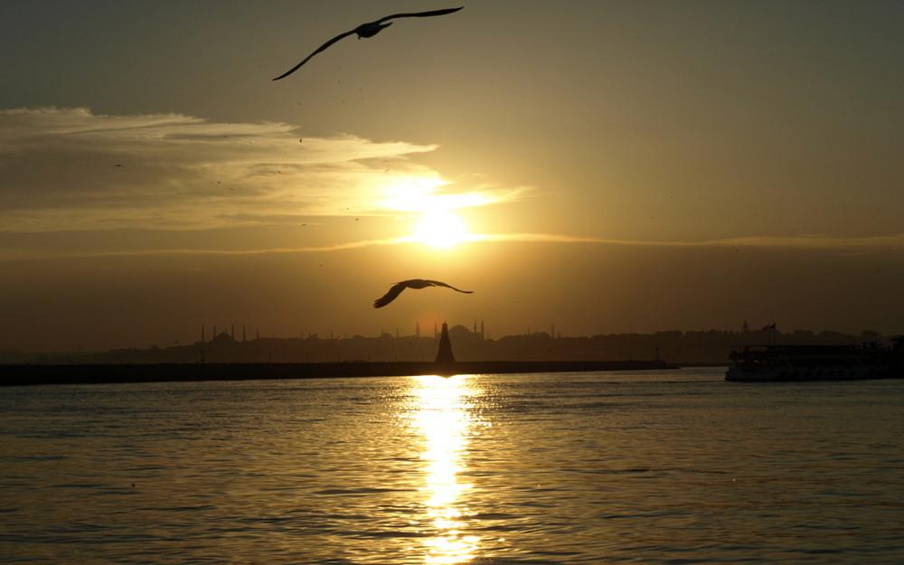 Sonnen Untergang in Istanbul