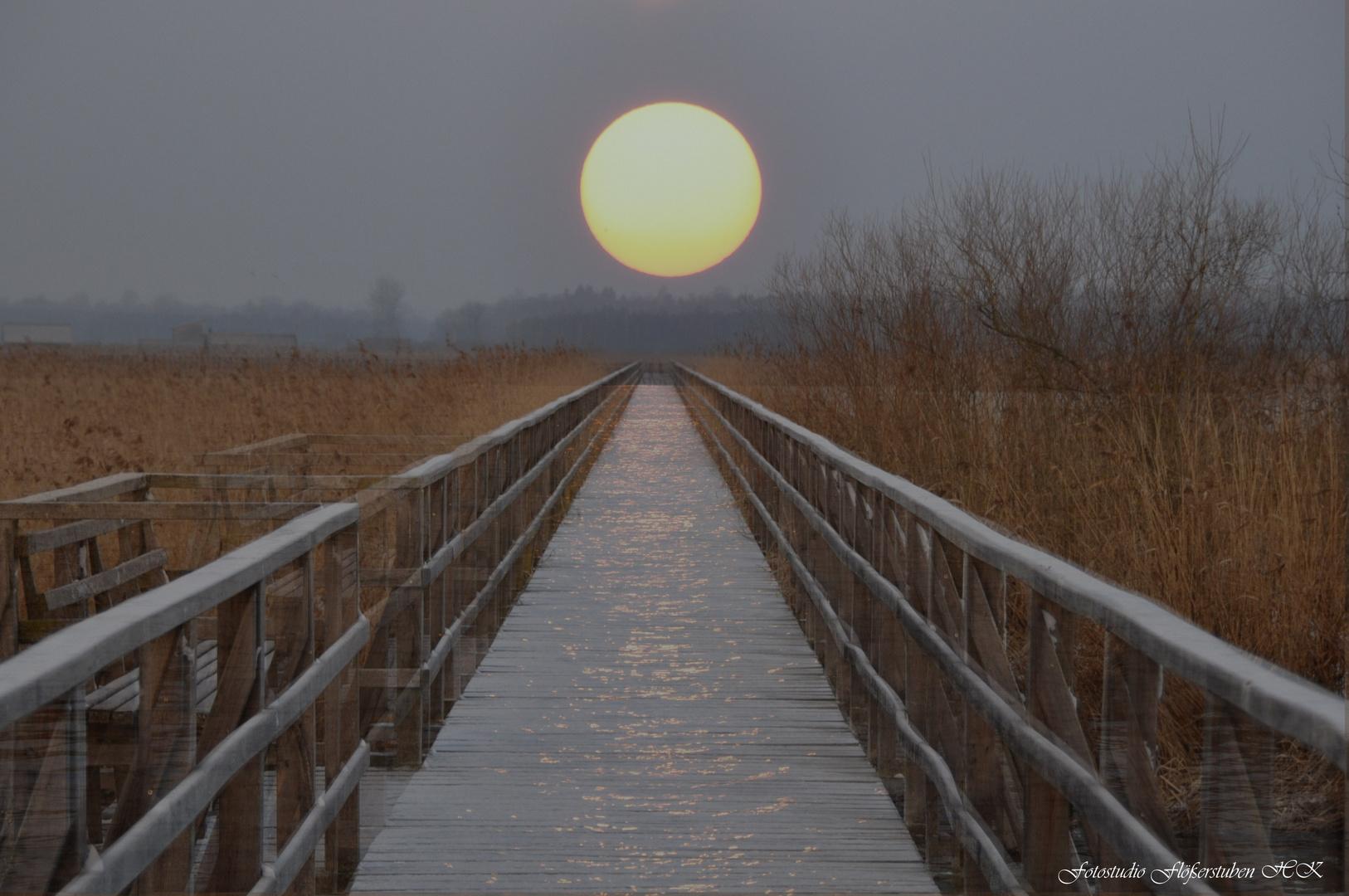 Sonnenaufgang am Ende des Steges