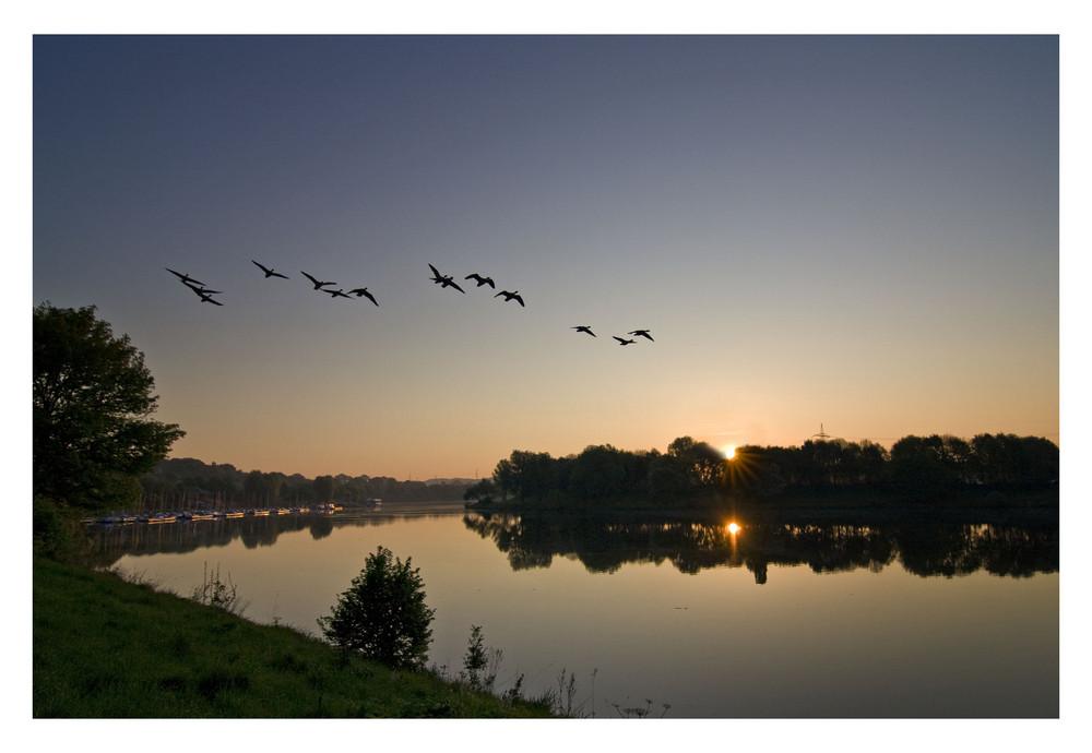 Sonnenaufgang am Kemnader See