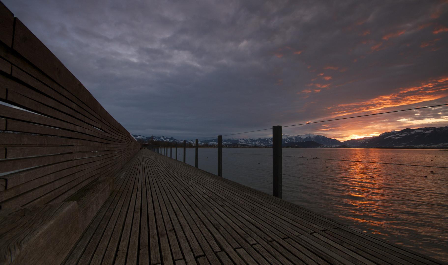 Sonnenaufgang am Seedamm
