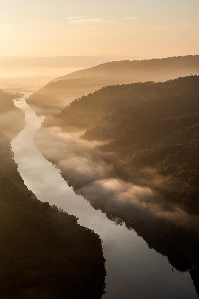 Sonnenaufgang an der Saarschleife