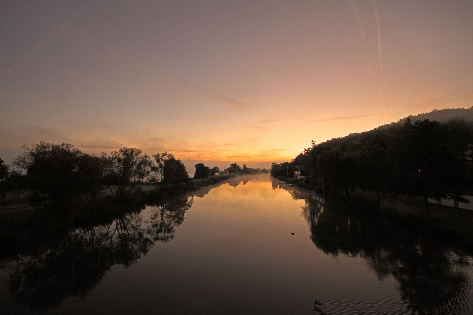 Sonnenaufgang an der Werra in Eschwege