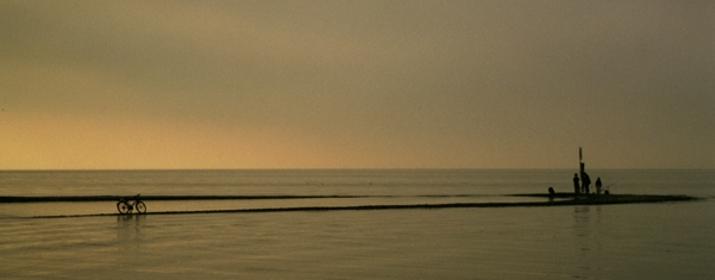 Sonnenaufgang Argenmündung im Morgennebel