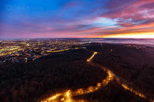 Sonnenaufgang auf dem Stuttgarter Fernsehturm