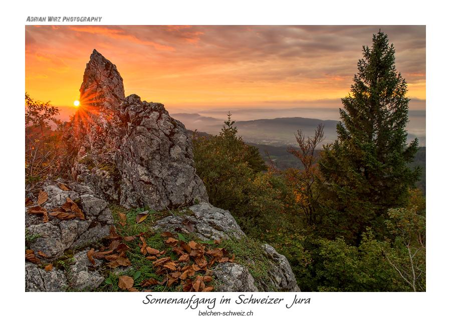 Sonnenaufgang auf den Schweizer Jurahöhen