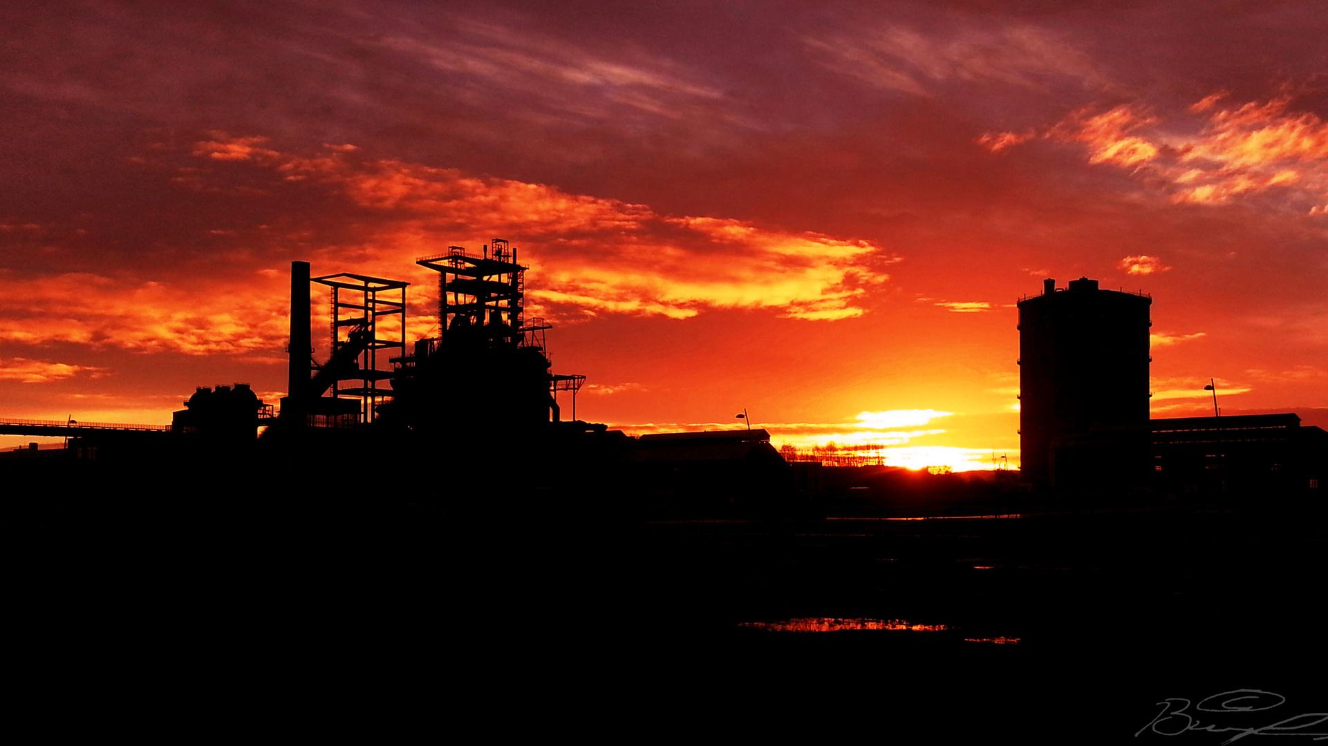 Sonnenaufgang auf Phoenix West, Dortmund