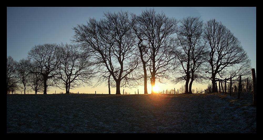 Sonnenaufgang bei minus Graden
