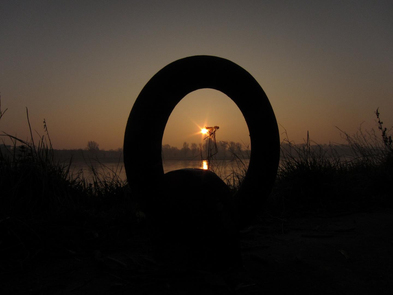 Sonnenaufgang durch Anlegering am Rheinufer