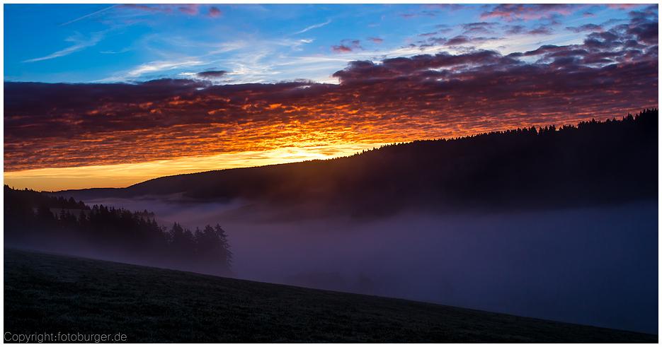 Sonnenaufgang im Nebel auf der B500