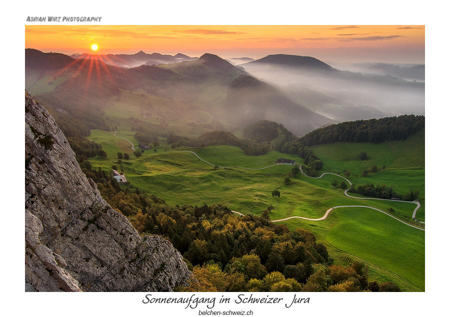 Sonnenaufgang im Schweizer Jura