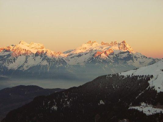 Sonnenaufgang in Verbier