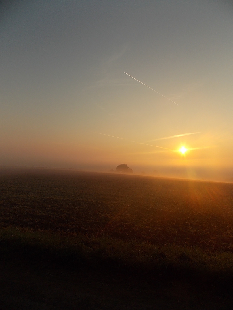 Sonnenaufgang mit Nebel im Tal