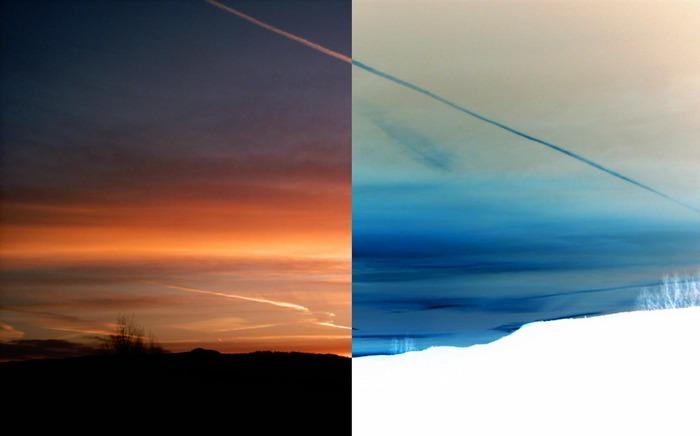 Sonnenaufgang oder Schneelandschaft?