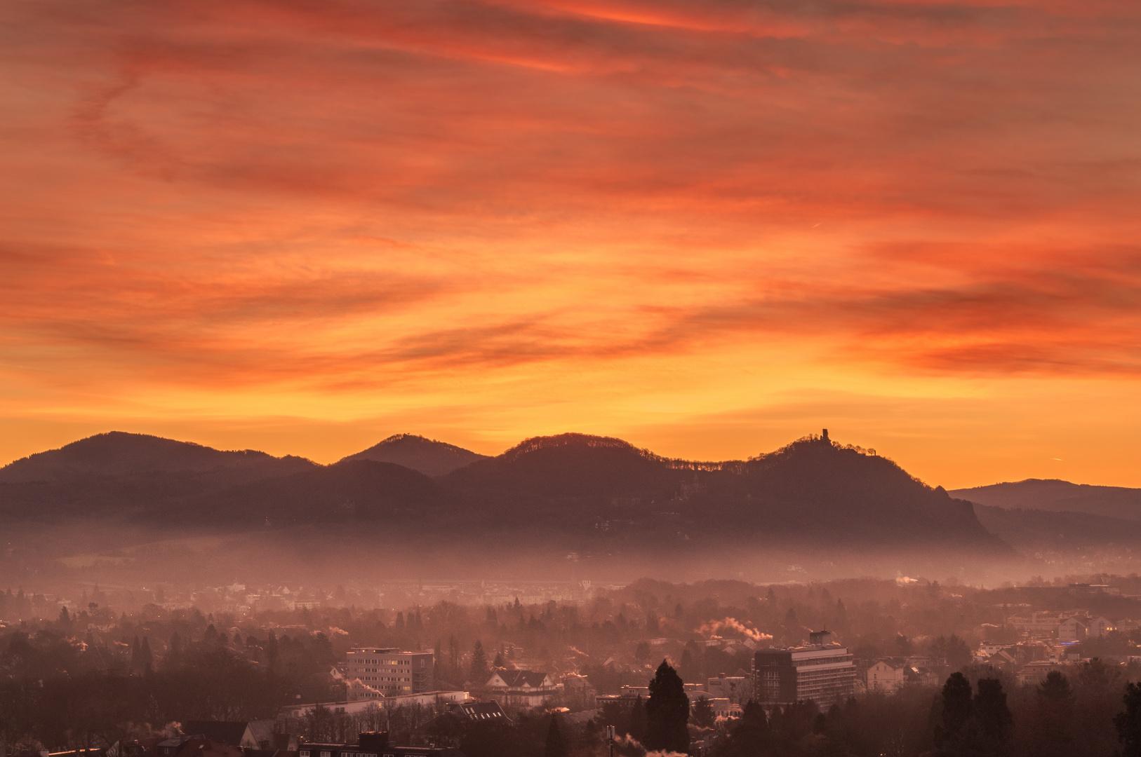 sonnenaufgang ber dem siebengebirge foto bild deutschland europe nordrhein westfalen. Black Bedroom Furniture Sets. Home Design Ideas