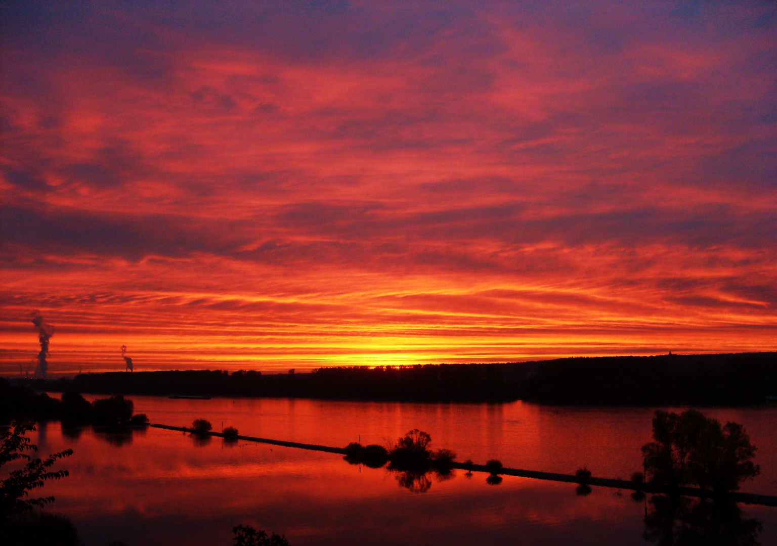 Sonnenaufgang über den Rhein