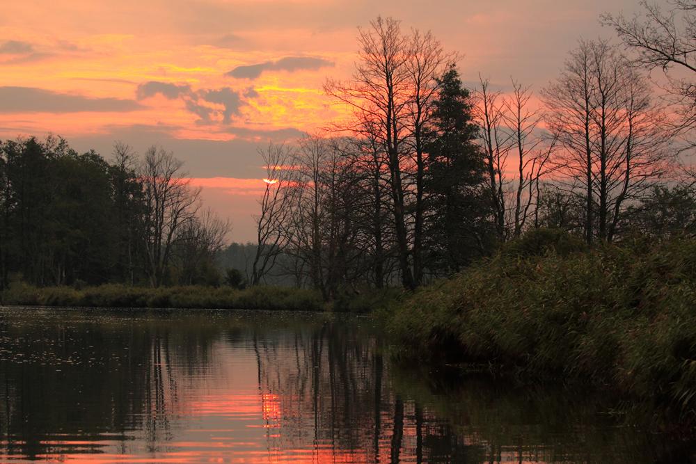 Sonnenaufgang über der Peene
