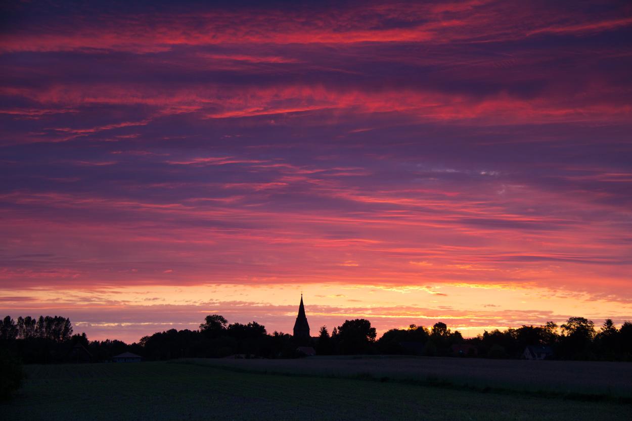 Sonnenaufgang über Hanshagen.